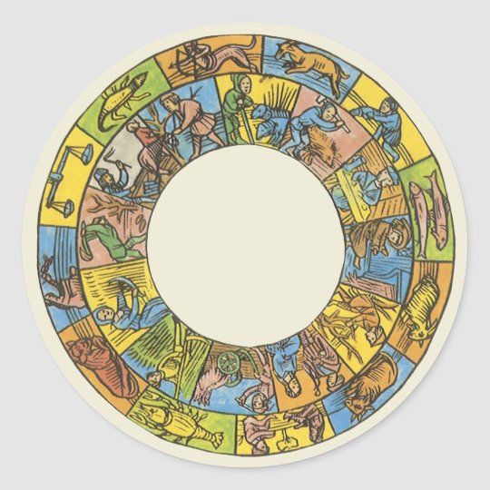 Vintage Celestial, Astrological Zodiac Wheel Classic Round Sticker