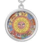 Vintage Celestial Astrology, Antique Zodiac Wheel Round Pendant Necklace
