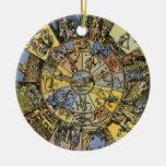 Vintage Celestial Astrology, Zodiac Wheel, 1555 Christmas Ornaments