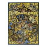 Vintage Celestial Astrology, Zodiac Wheel, 1555 Poster