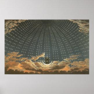 Vintage celestial, astronomía, reina de la noche poster