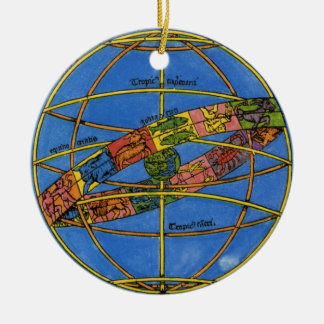 Vintage celestial, astrónomo Claudius Ptolomeo Adorno Navideño Redondo De Cerámica