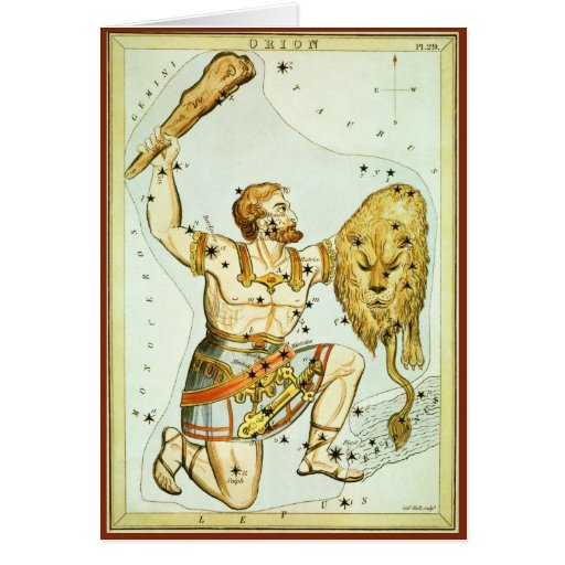 Vintage Celestial Astronomy, Orion Constellation Card