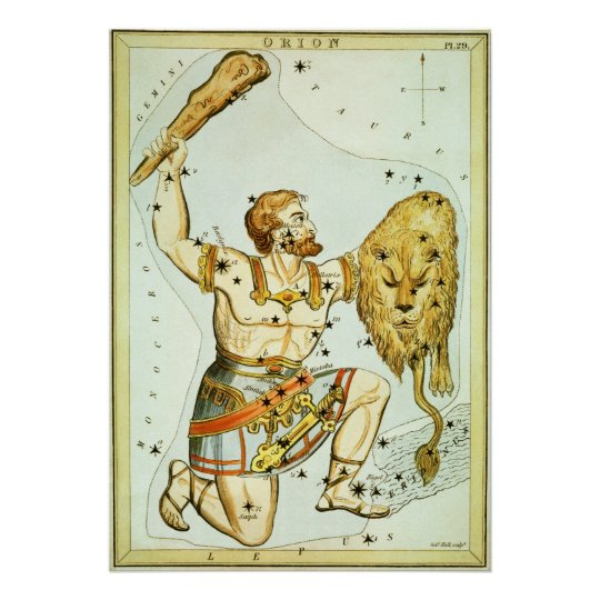 Vintage Celestial Astronomy, Orion Constellation Poster