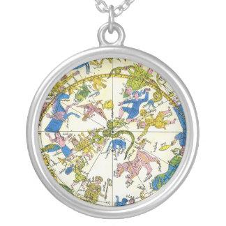 Vintage celestial, estrellas antiguas del mapa de collares