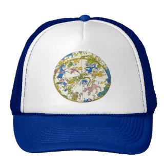 Vintage celestial, estrellas antiguas del mapa de gorras