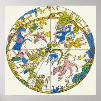 Vintage celestial estrellas antiguas del mapa de poster