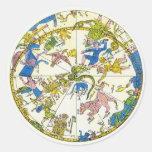 Vintage celestial, estrellas antiguas del mapa de etiqueta redonda