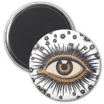 Vintage Celestial Eye Stars Moon 2 Inch Round Magnet
