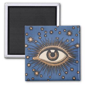 Vintage Celestial Eye Stars Moon 2 Inch Square Magnet