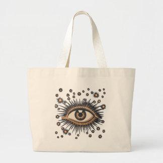 Vintage Celestial Eye Stars Moon Jumbo Tote Bag
