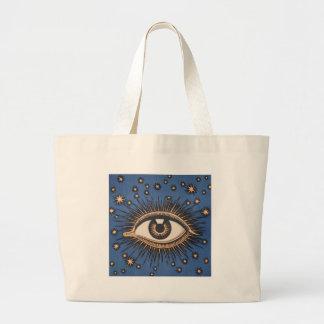 Vintage Celestial Eye Stars Moon Blue Large Tote Bag