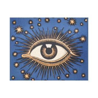 Vintage Celestial Eye Stars Moon Canvas Prints
