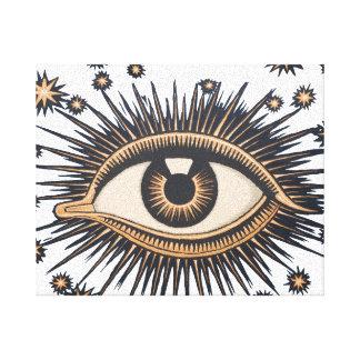 Vintage Celestial Eye Stars Moon Canvas Print