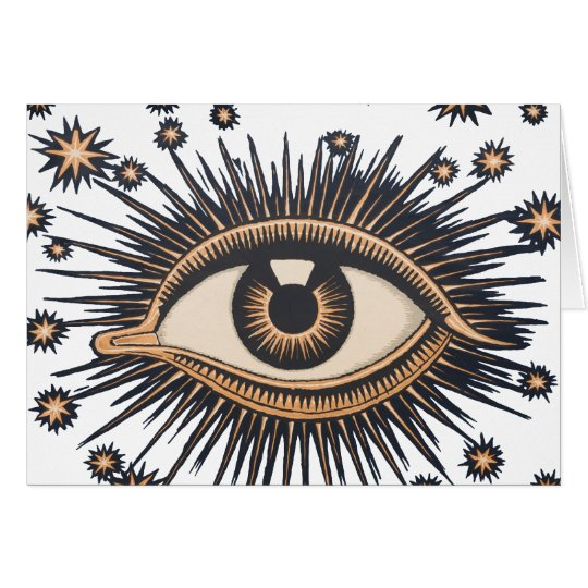 Vintage Celestial Eye Stars Moon Card