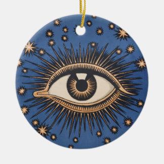 Vintage Celestial Eye Stars Moon Ceramic Ornament