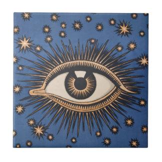 Vintage Celestial Eye Stars Moon Ceramic Tile