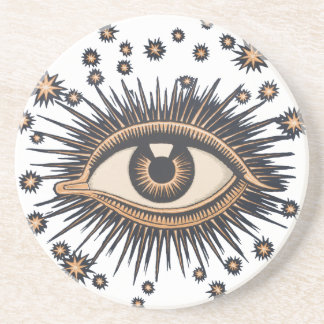 Vintage Celestial Eye Stars Moon Coaster