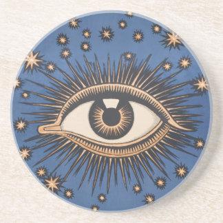 Vintage Celestial Eye Stars Moon Drink Coaster