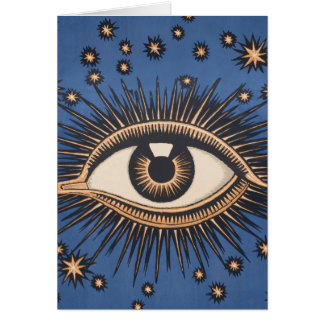 Vintage Celestial Eye Stars Moon Greeting Card