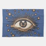 Vintage Celestial Eye Stars Moon Hand Towel