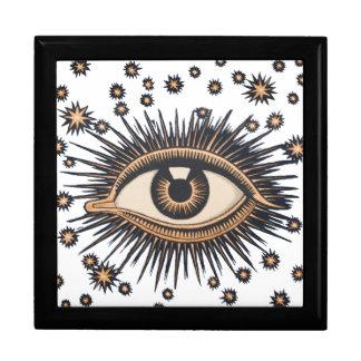 Vintage Celestial Eye Stars Moon Jewelry Box