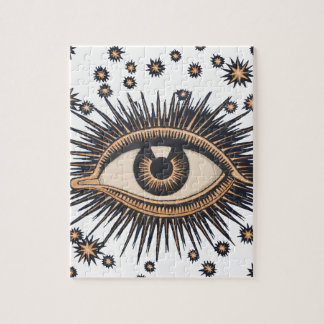 Vintage Celestial Eye Stars Moon Jigsaw Puzzle