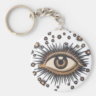 Vintage Celestial Eye Stars Moon Keychain