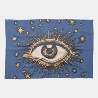 Vintage Celestial Eye Stars Moon Kitchen Towels