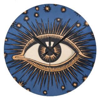 Vintage Celestial Eye Stars Moon Large Clock