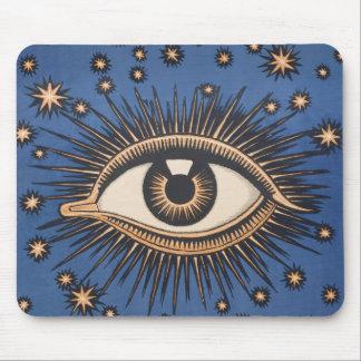 Vintage Celestial Eye Stars Moon Mouse Pad