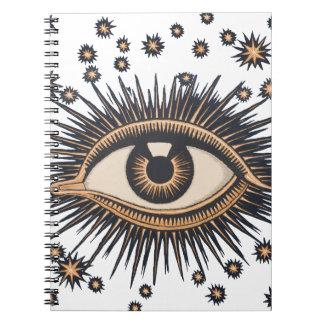 Vintage Celestial Eye Stars Moon Notebook