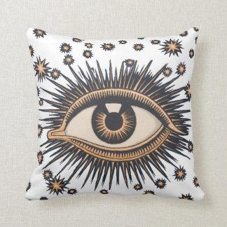 Vintage Celestial Eye Stars Moon Pillow
