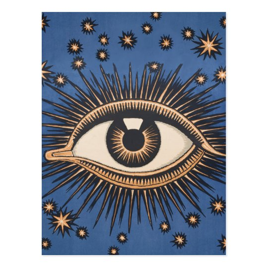 Vintage Celestial Eye Stars Moon Postcard