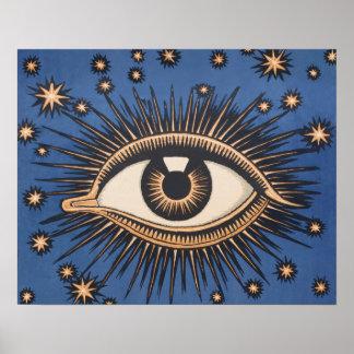 Vintage Celestial Eye Stars Moon Posters