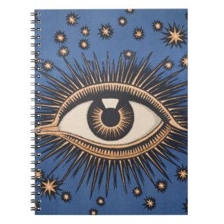 Vintage Celestial Eye Stars Moon Spiral Notebook