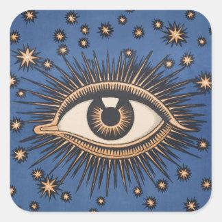 Vintage Celestial Eye Stars Moon Square Sticker