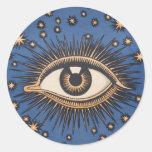 Vintage Celestial Eye Stars Moon Classic Round Sticker