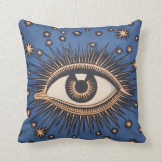 Vintage Celestial Eye Stars Moon Throw Pillow