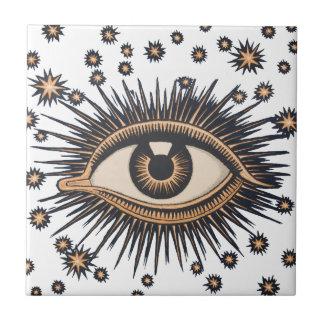 Vintage Celestial Eye Stars Moon Tile