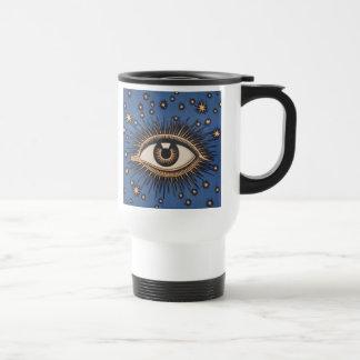 Vintage Celestial Eye Stars Moon Travel Mug