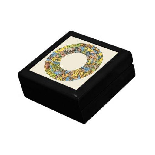 Vintage celestial, rueda astrológica del zodiaco joyero cuadrado pequeño