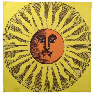 Vintage Celestial Yellow Smiling Happy Hippie Sun Cloth Napkin