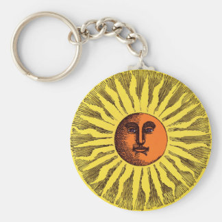 Vintage Celestial Yellow Smiling Happy Hippie Sun Keychain