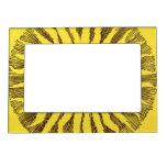 Vintage Celestial Yellow Smiling Happy Hippie Sun Magnetic Photo Frame
