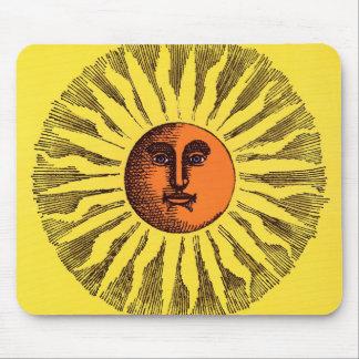 Vintage Celestial Yellow Smiling Happy Hippie Sun Mouse Pad