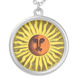 Vintage Celestial Yellow Smiling Happy Hippie Sun Round Pendant Necklace