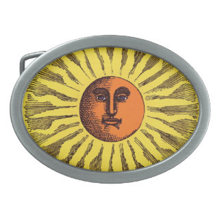 Vintage Celestial Yellow Smiling Happy Hippie Sun Oval Belt Buckle
