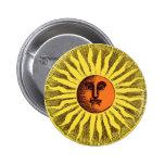 Vintage Celestial Yellow Smiling Happy Hippie Sun Pinback Button