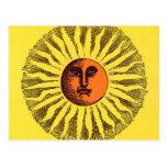Vintage Celestial Yellow Smiling Happy Hippie Sun Postcard